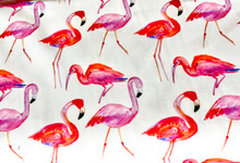 Uph/Drapery - Pink Flamingoes - White Ground