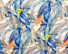 Uph/Drapery - Parrots - Blue & Grey