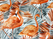 Uph/Drapery - Flamingoes - Coral & Grey