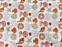 Uph/Drapery - Seashells & Sand Dollars - Coral/Neutral