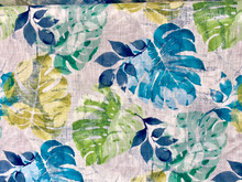Uph/Drapery - Monstera & Leaves - Blues/Greens