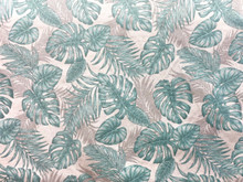 Uph/Drapery - Tropical Monstera - Grey/Blue