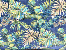 Uph/Drapery - Tropical Leaves - Blue/Green