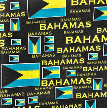 PolyCotton - Bahamas Text with Flags
