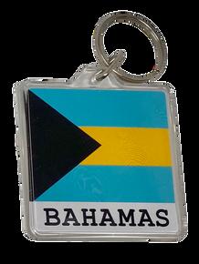 Keychain - Bahamas Flag Acrylic with Text