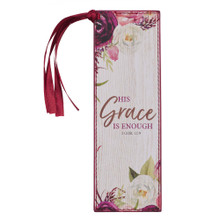 His Grace is Enough Faux Leather Bookmark in Pink Plums - 2 Corinthians 12:9
