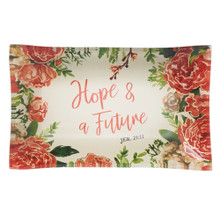 Hope and a Future Glass Trinket Tray - Jeremiah 29:11