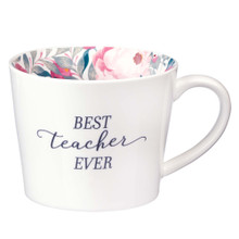 Best Teacher Ever Ceramic Mug in White with Floral Interior