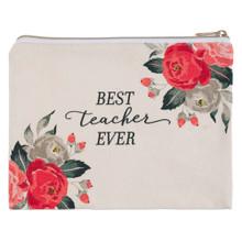Best Teacher Ever Zippered Canvas Pouch