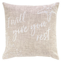 Give You Rest Square Pillow in Tan - Matthew 11:28