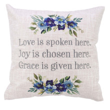 Love Joy Grace Square Decorative Pillow in Light Grey