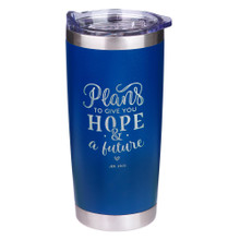 Plans To Give You Hope & A Future Stainless Steel Mug in Blue - Jeremiah 29:11
