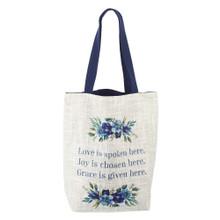 Love Joy Grace Woven Tote Bag in Light Grey