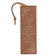 When She Speaks Faux Leather Bookmark - Proverbs 31:26
