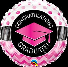 "18"" Round Graduate Pink Chevron Dots"