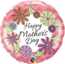 "18"" Round Mother's Day Floral Chevron"