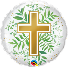 "18"" Round Golden Cross & Greenery"