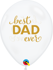 "11"" Round Latex Balloon Best Dad Ever Diamond Clear"