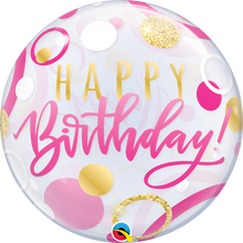 "22"" Bubble Balloon Birthday Pink & Gold Dots"