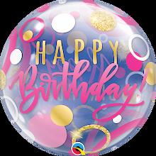 "22"" Bubble Balloon Birthday Pink & Gold Dots"