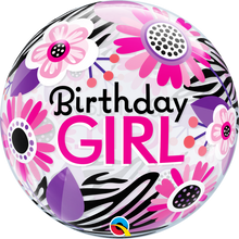 "22"" Bubble Balloon Birthday Girl Floral Zebra Stripes"