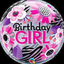 "22"" Bubble Balloon Birthday Girl Floral Zebra Stripes"
