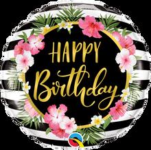 "18"" Round Birthday Hibiscus Stripes"