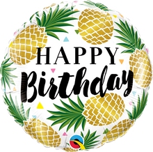 "18"" Round Birthday Golden Pineapples"