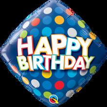 "18"" Diamond Birthday Blue & Colourful Dots"