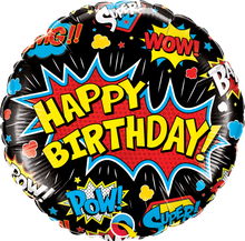 "18"" Round Birthday Super Hero Black"