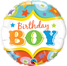 """18"""" Round Birthday Boy Circus Stars"""