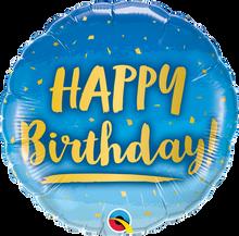 """18"""" Round Birthday Gold & Blue"""