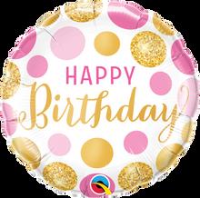 """18"""" Round Birthday Pink & Gold Dots"""