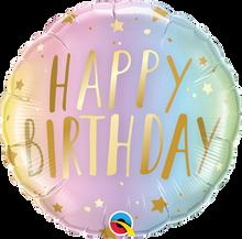 "18"" Round Birthday Pastel Ombre & Stars"