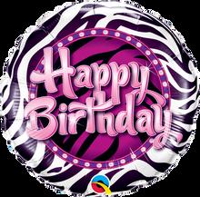 """18"""" Round Birthday Zebra Print"""