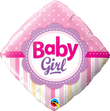 "18"" Diamond Baby Girl Dots & Stripes"