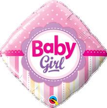 "18"" Diamond Baby Girl Dots & Stripes"