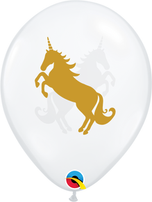 "11"" Round Latex Balloon Unicorn Diamond Clear"
