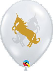"""11"""" Round Latex Balloon Unicorn Diamond Clear"""