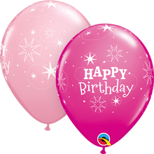 "11"" Round Latex Balloon Birthday Sparkle - Girl"