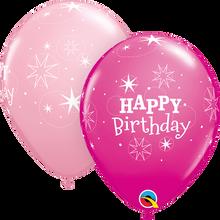 "11"" Round Latex Balloon Birthday Sparkle - Girl"