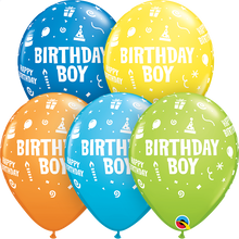 "11"" Round Latex Balloon Birthday Boy Assortment"