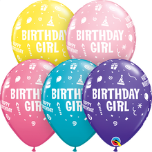 "11"" Round Latex Balloon Birthday Girl Assortment"