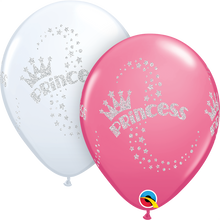 "11"" Round Latex Balloon Glitter Princess Wrap"