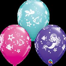 "11"" Round Latex Balloon Merry Mermaid & Friends"