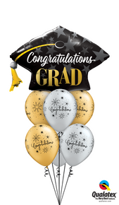 Balloon Bouquet: Congrats Grad! Silver & Gold Mortarboard