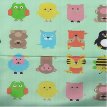 EasyCare Poly Cotton Prints Cute Animals Mint