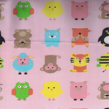 EasyCare Poly Cotton Prints Cute Animals Pink