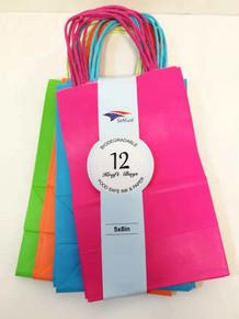"Party Kraft Bag - 5""x8"" - 12pk - Asstd Bright"