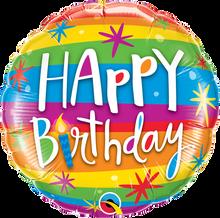 "18"" Round Birthday Rainbow Stripes"